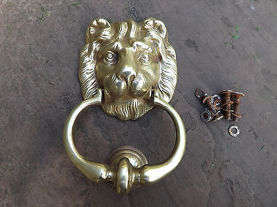 Large vintage Brass Lion Head Door Knocker with Striker plate
