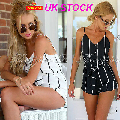 UK Womens Holiday Mini Playsuit Ladies Jumpsuit Summer Beach Dress Size 6 - 12