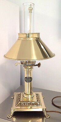 Stunning Vintage Brass Glass Orient Express Table Lamp RISE/FALL SHADE W REDMAN