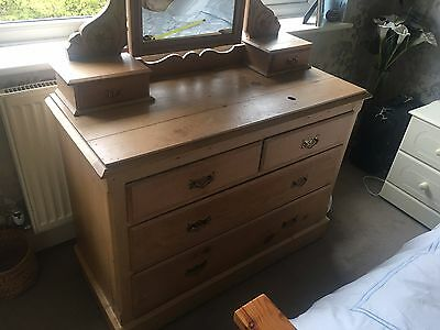 Antique Pine Dresser Dressing Table with Mirror Shabby Chic
