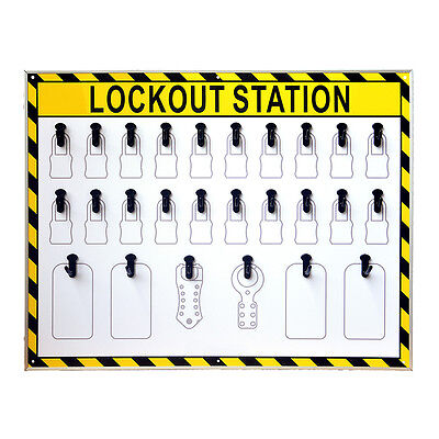 ASG 26 Hooks Security Lockout Station for Safety Padlocks,Unfilled, Station Only