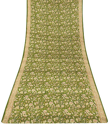Vintage Indian Green Floral Printed Sari 100% Pure Silk Saree Craft Fabric 5 YD