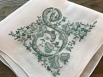 A+ Vintage Madeira Embroidered Hankie Teal Green Monogram S Wedding Collector