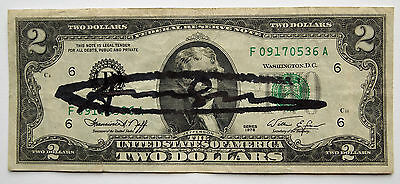 "(509) Andy Warhol, HANDSIGNIERT, ""US-2 Dollar-Note"""