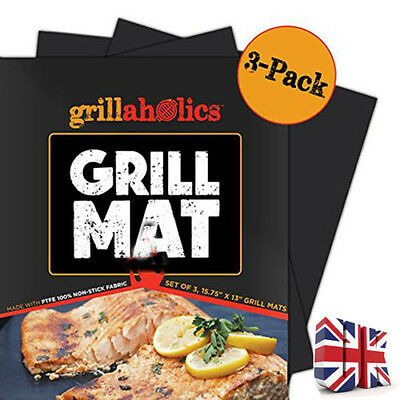 3x BBQ Grill Mat Reusable Resistant Non-Stick Barbecue Baking Sheet Cooking Meat