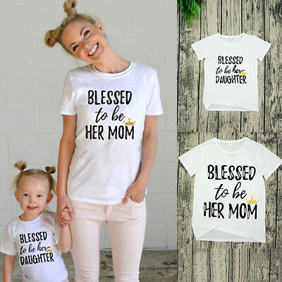 Mother and Daughter T-shirt Clothes Matching Family Tee Blouses kid mama