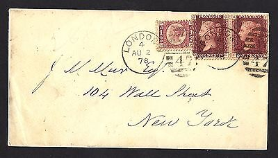 1878 2x1d Red Plate 210 Plus Bantam Plate 13 Env To New York