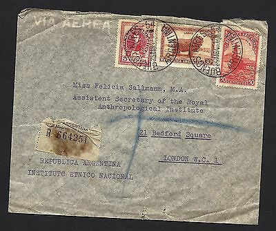 1947 Registered Air Mail Cover from Argentina to London