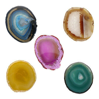 Fashion Colorful Gemstone Cup Mat Sliced Agate Beverage Coasters Unwrapped New