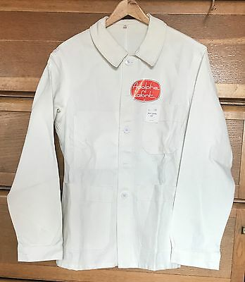 Vintage white FRENCH WORK JACKET, Bleu de travail. Size M, Deadstock with TAGS.