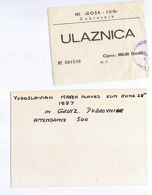 1987 Football Match ticket from Yugoslavia, Dubrovnik with original owner notes