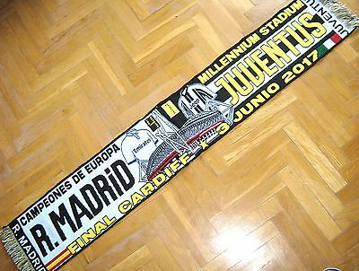 "Bufanda Scarf 16-17 Real Madrid - Juventus 4-1 ""campeon"" Final Champions Cardiff"
