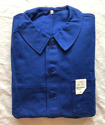 Vintage BLUE FRENCH WORK JACKET, Bleu de travail. Size L, Deadstock with TAGS.