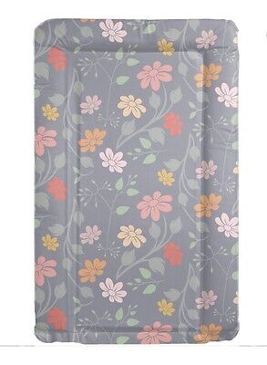 Grey Floral Baby Change Mat Padded Raised Sides Changing Mat Wipe Clean