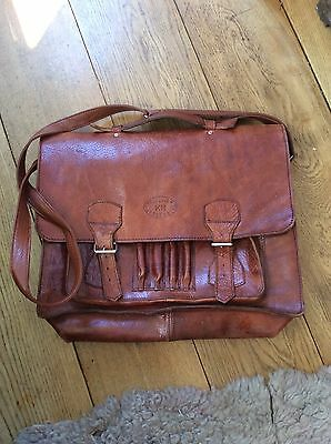 Vintage Brown Leather Satchel 'Cuir Veritable' Music Bag - Retro
