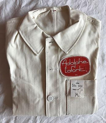 Vintage white FRENCH WORK JACKET Bleu de travail. Size S/M, Deadstock w TAGS.