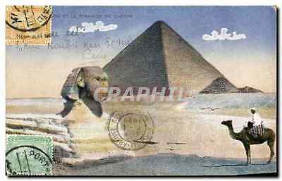 CPA CARTE MAXIMUM Egypte Egypt Sphinx Pyramide de Cheops