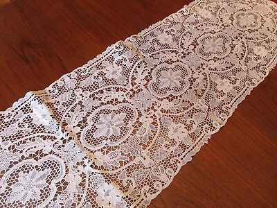 Antique Vintage Lace Crochet Table Runner Handmade Flower Design Vienna Austria