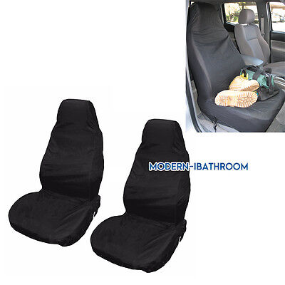 2Pc Universal Fit Black Heavy Duty Car Van Front Seat Covers Protectors Washable