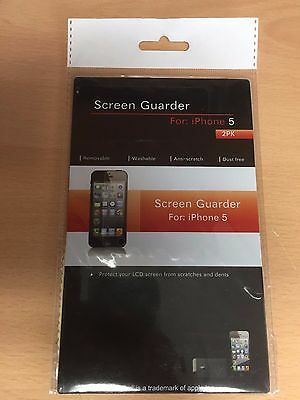 SCREEN GUARDER - 2 x DISPLAY SCREEN PROTECTOR - FOR iPhone 5 NEW