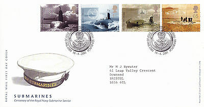 10 April 2001 Submarines Royal Mail First Day Cover Bureau Shs