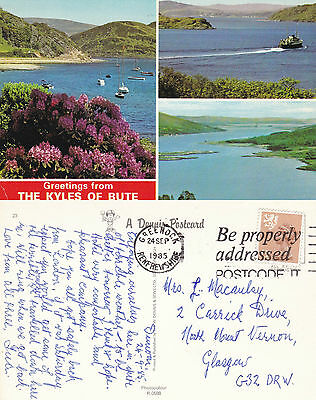 1985 Multi Views Of The Kyles Of Bute Argyle & Bute Scotland Colour Postcard