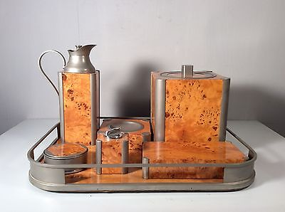 60s 70s RETRO MODERN MIDCENTURY VINTAGE SMOKER SET WITH BUCKET AND COASTER