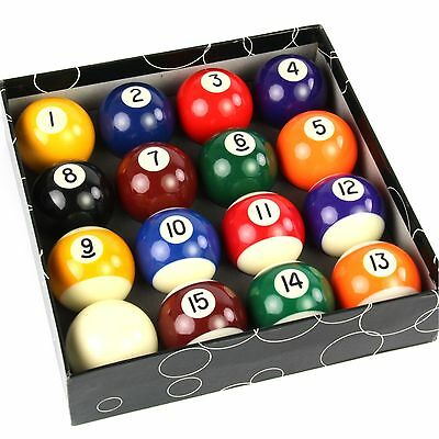 2 1/4 Inch 57mm Full Size Spots and Stripes Numbered American Pool Balls