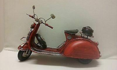Classic Red Italian Metal Scooter – Wheels Spin - Vintage & Decorative