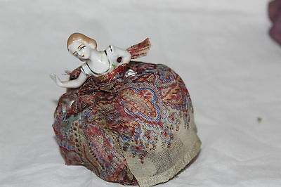 Vintage Half Doll With Arm Full Away On Pin Cushion Base