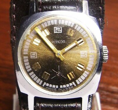 Watch Pobeda Export type Ussr Russian Soviet Vintage Band Serviced Working