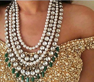 Indian Bollywood Pearl Kundan Green Fashion Gold Plated Bridal Jewelry Necklace