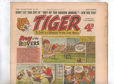 Tiger Comic No 169 (1957) - better than VG+ condition - Roy of the Rovers