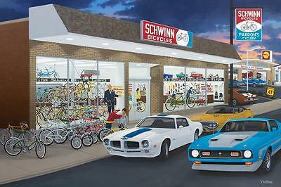 "DAVID SNYDER ""It's Fun"" Limited Edition Print-Schwinn Bicycle Shop/Shell Station"