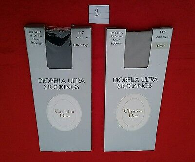 VINTAGE CHRISTIAN DIOR STOCKINGS SILVER AND NAVY U.K. Shoe Size 3-8