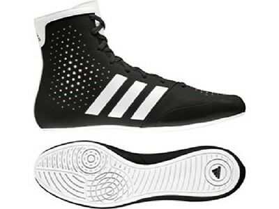 Adidas KO Legend Boxing Boots Black & White Mens Sparring High Top Style