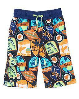 NEW NWT GYMBOREE Boys Size  Swim BathingSuit Board Shorts Blue Road Signs 50 UPF