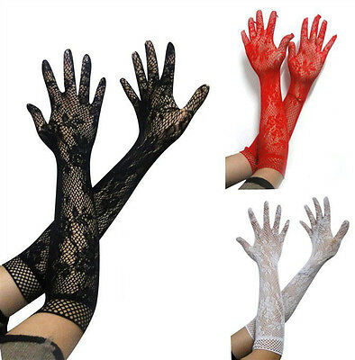 Lovely Lacy Ladies Evening Gloves. Black Red or White. Lace Opera Gloves