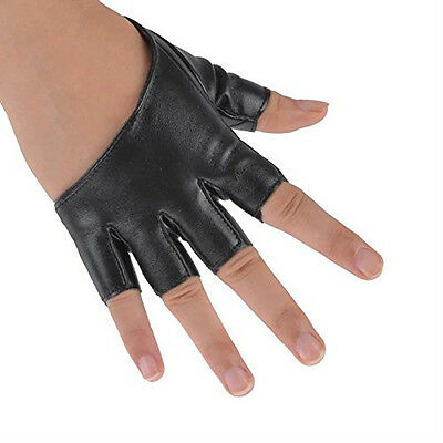 Pair of Lovely Fingerless Gloves Black Gold Silver Faux Leather Party Costume