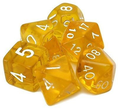 Set of 7 Clear Dice for RPG games Dungeons & Dragons etc. DnD FREE POSTAGE