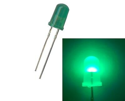 Diffused Green 5mm LED's. 20 or 100 pack. FREE POSTAGE