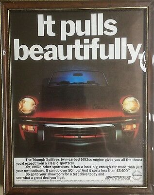 New, Professionally-Framed Advertisement for the 1493cc. Triumph Spitfire!
