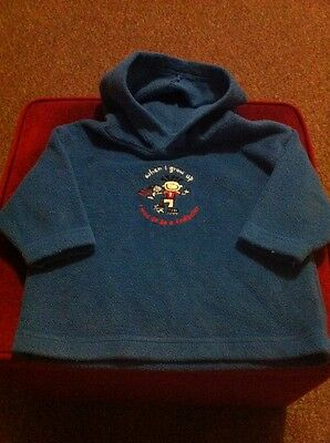 *Baby Boys Girls Very Cute Blue Soft Jumper Hoodie Top 6-9 Months Good Condition