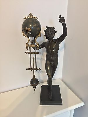 Stunning Bronze Hercules swinger clock perhaps Ansonia swing original condition