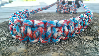 Archery Bow Sling 550 Paracord Red white blue  + 3 zipper pulls