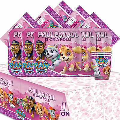 Paw Patrol Pink Girl's Children's Birthday Party Tableware Pack Kit For 8
