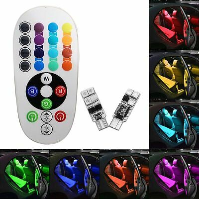 2x t10 rgb colors changing led lamp 12v 5050 car interior light remote control eur 1 00. Black Bedroom Furniture Sets. Home Design Ideas