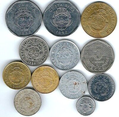12 different world coins from COSTA RICA