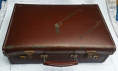 """Vintage C1950's Small 16"""" Paper-Lined Suitcase : No Key"""
