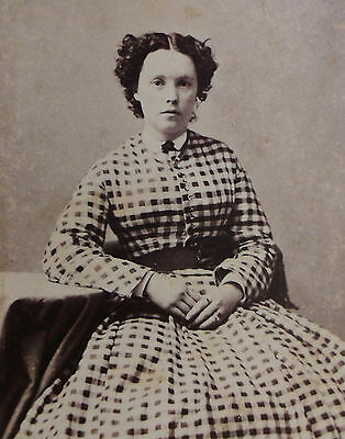 Antique Civil War Era Cdv Photo Of A Lovely Young Woman Wearing A Plaid Dress
